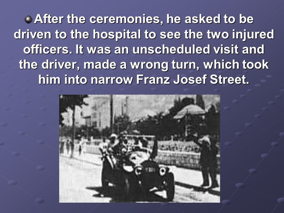After the ceremonies, he asked to be driven to the hospital to see the two injured officers.