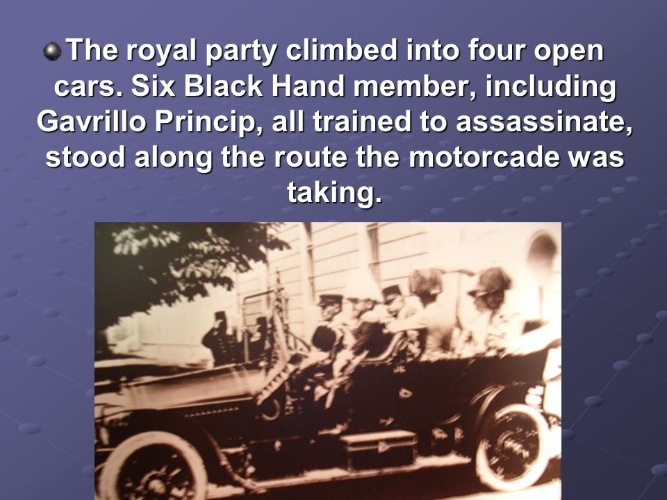 The royal party climbed into four open cars