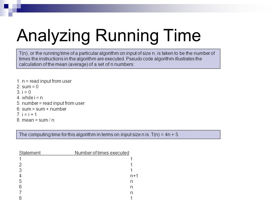 Analyzing Running Time