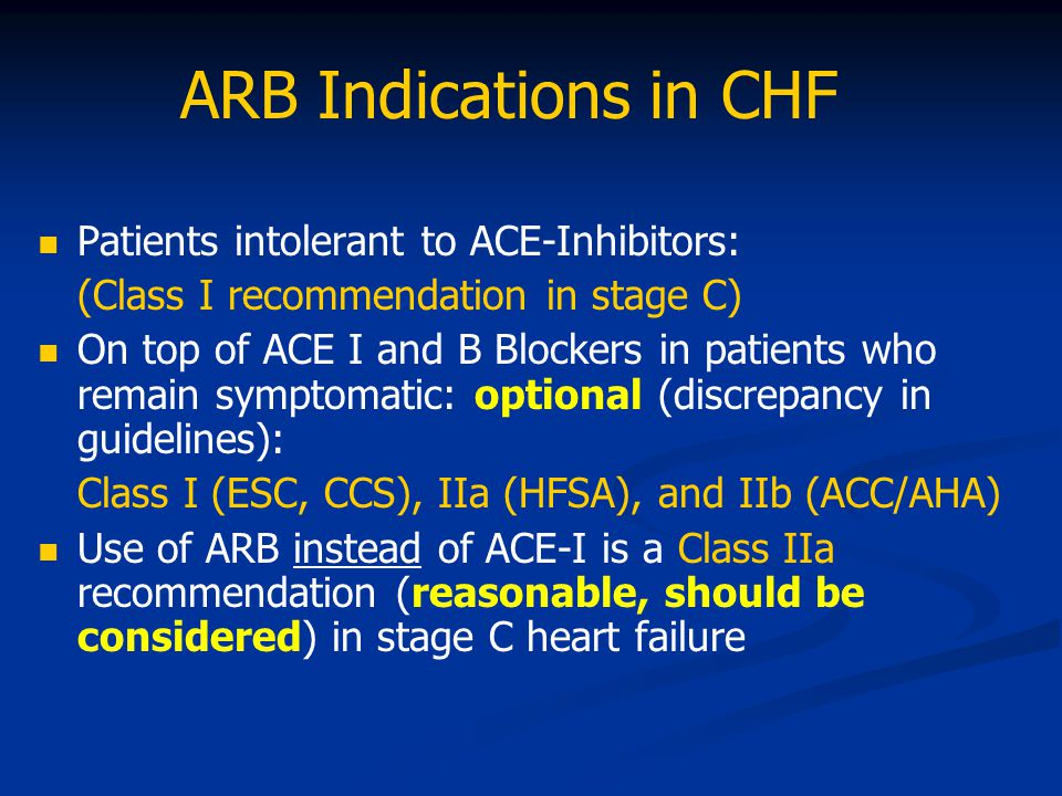 ARB Indications in CHF Patients intolerant to ACE-Inhibitors: