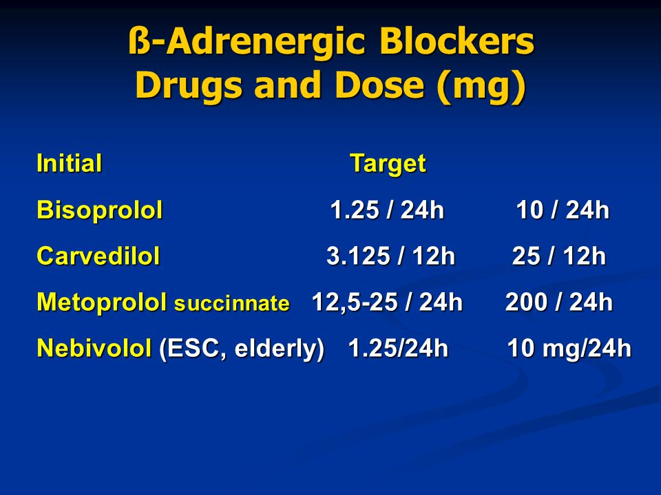 ß-Adrenergic Blockers Drugs and Dose (mg)