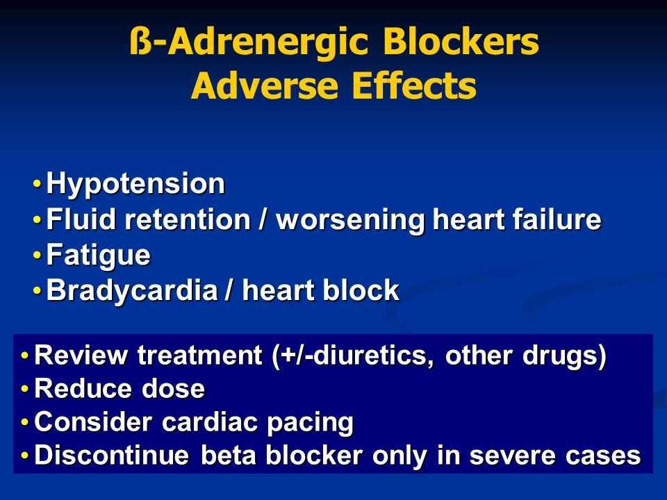 ß-Adrenergic Blockers Adverse Effects