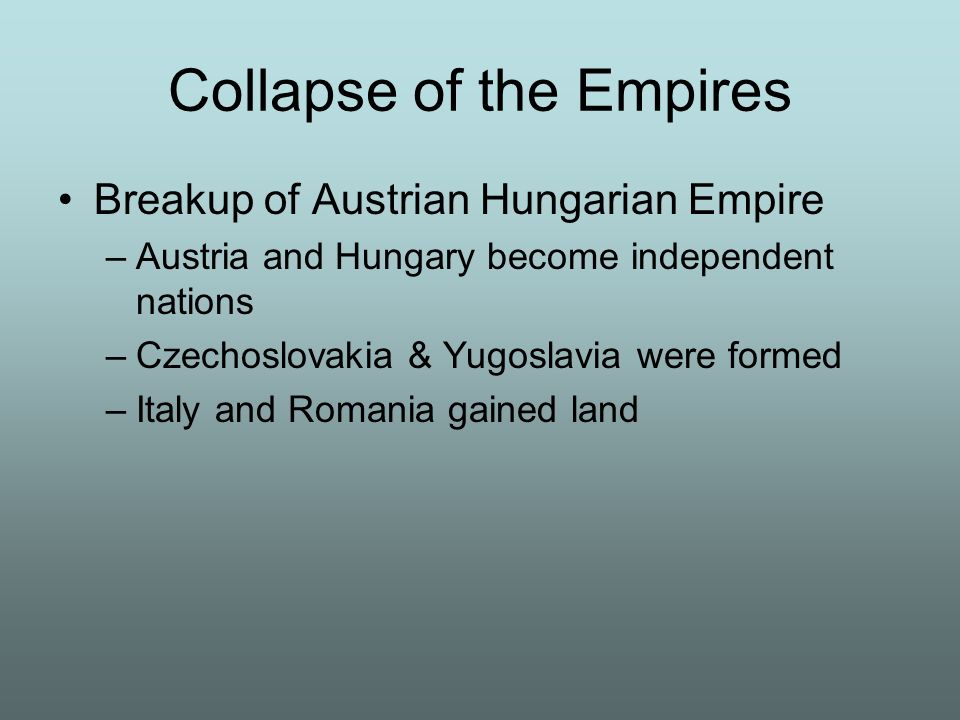 Collapse of the Empires