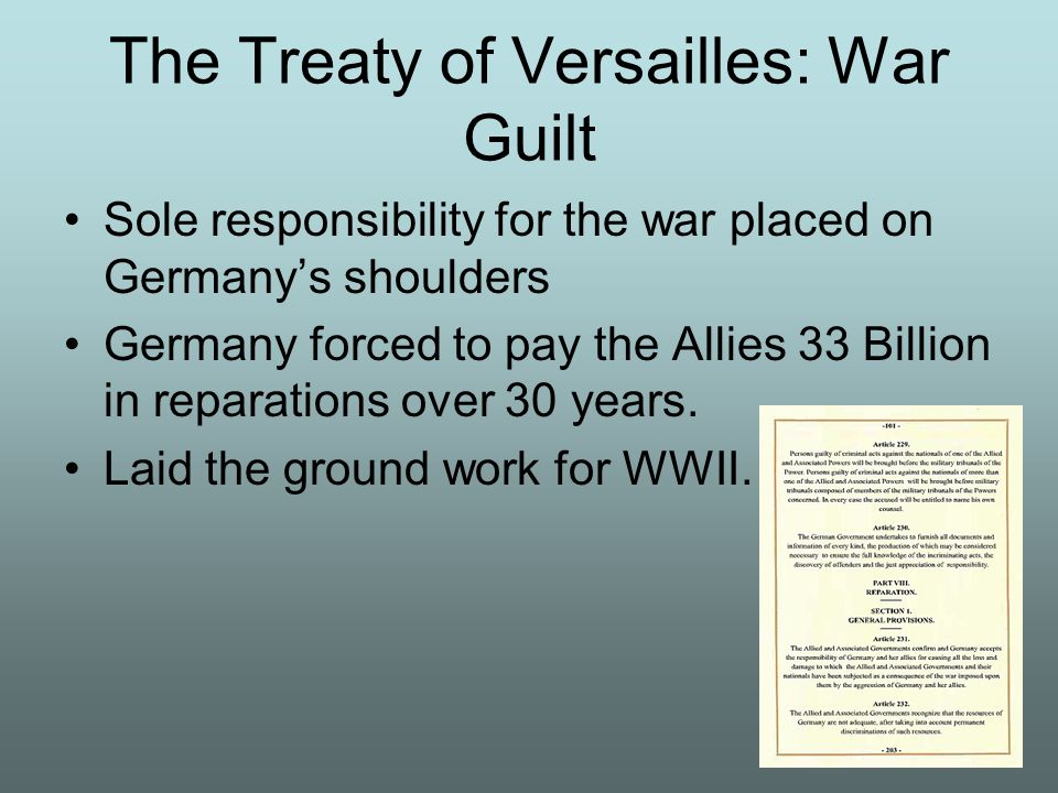 The Treaty of Versailles: War Guilt