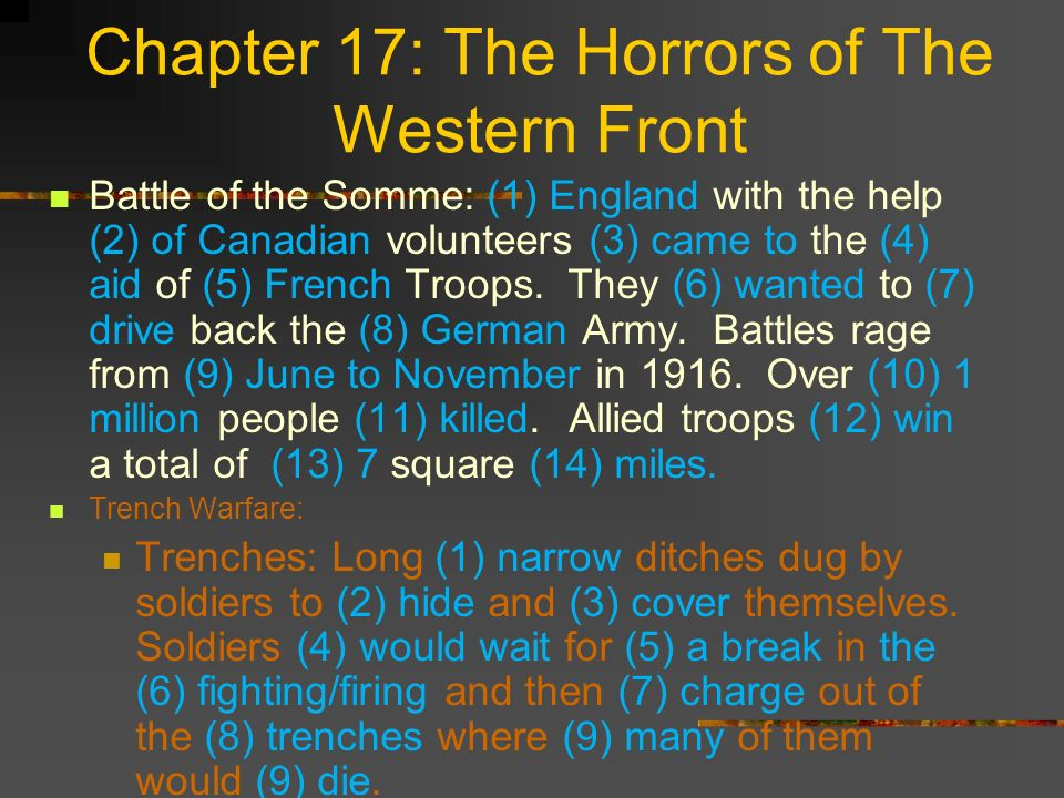 Chapter 17: The Horrors of The Western Front