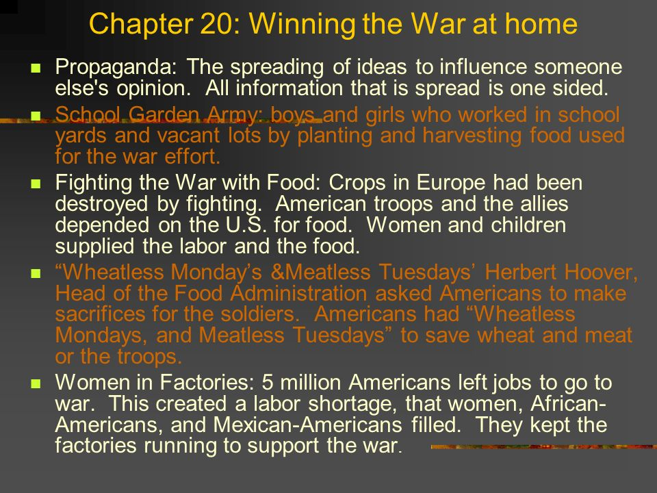 Chapter 20: Winning the War at home