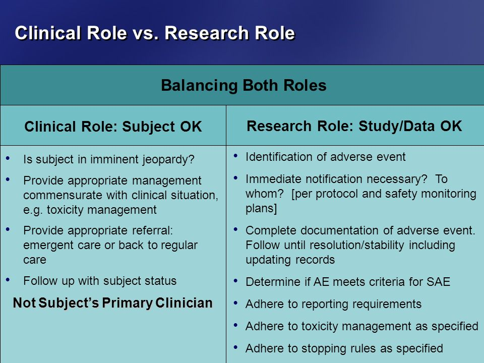 Clinical Role vs. Research Role