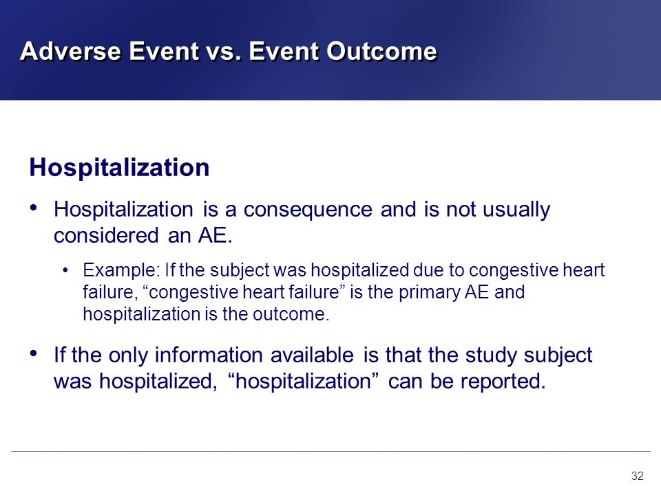 Adverse Event vs. Event Outcome