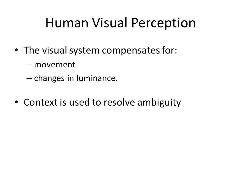 Human Visual Perception
