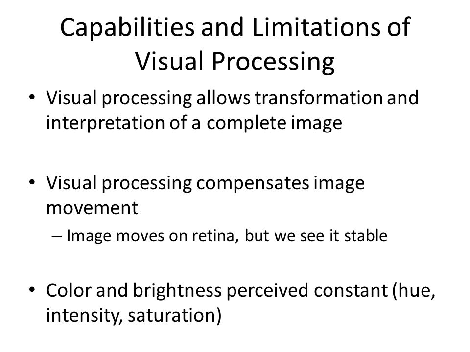 Capabilities and Limitations of Visual Processing