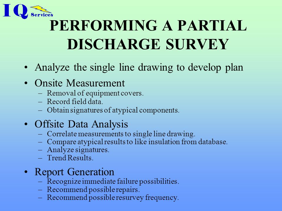 PERFORMING A PARTIAL DISCHARGE SURVEY