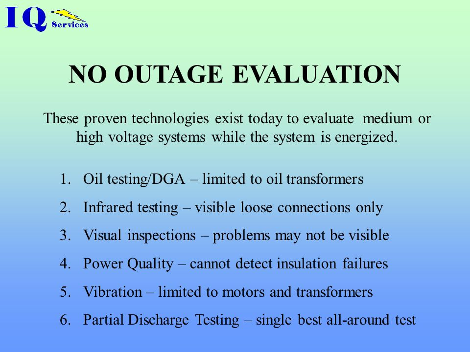 NO OUTAGE EVALUATION These proven technologies exist today to evaluate medium or high voltage systems while the system is energized.