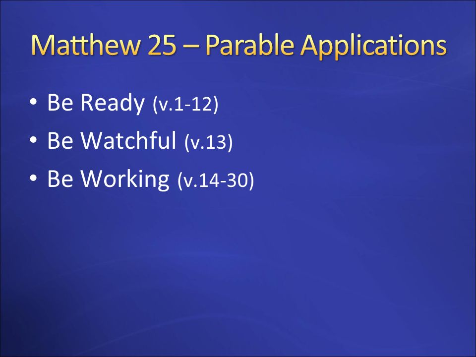 Matthew 25 – Parable Applications