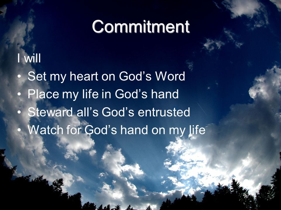 Commitment I will Set my heart on God's Word