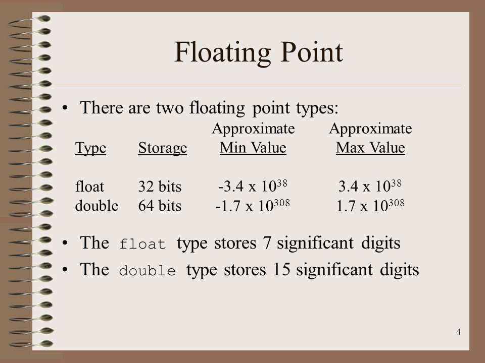 Floating Point There are two floating point types:
