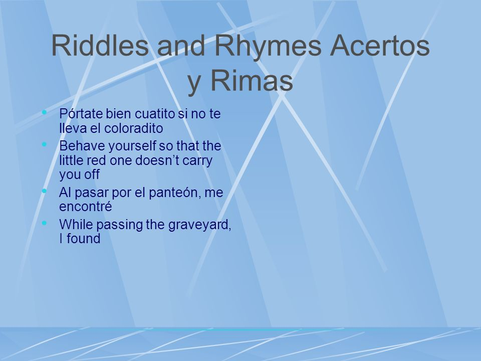 Riddles and Rhymes Acertos y Rimas