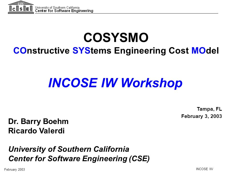 COnstructive SYStems Engineering Cost MOdel