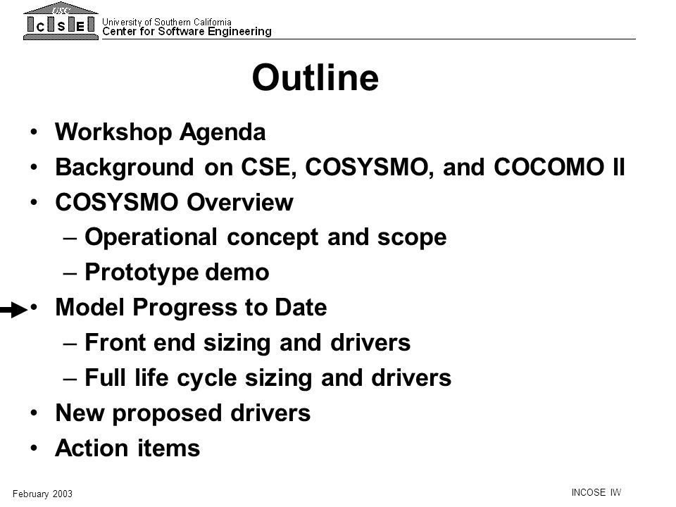 Outline Workshop Agenda Background on CSE, COSYSMO, and COCOMO II
