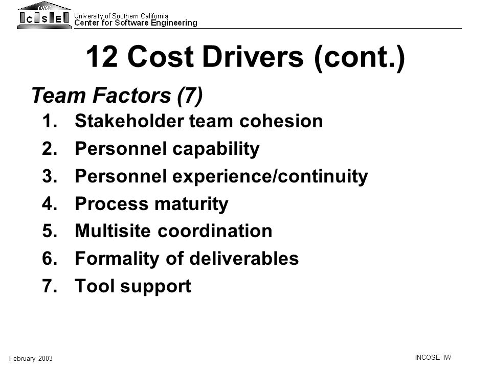 12 Cost Drivers (cont.) Team Factors (7) Stakeholder team cohesion