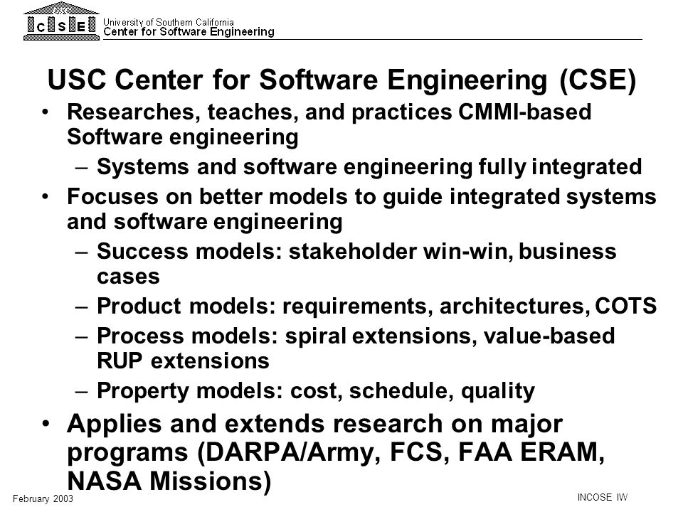 USC Center for Software Engineering (CSE)