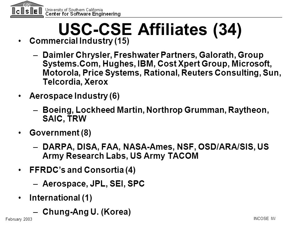 USC-CSE Affiliates (34) Commercial Industry (15)