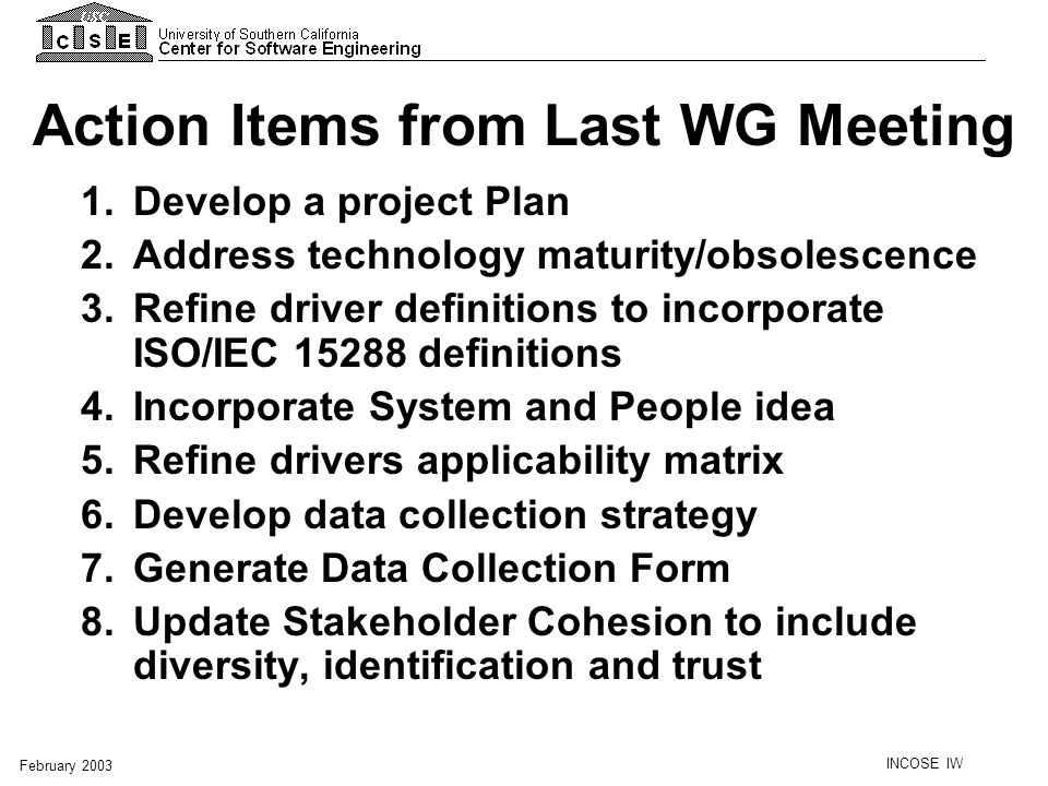 Action Items from Last WG Meeting