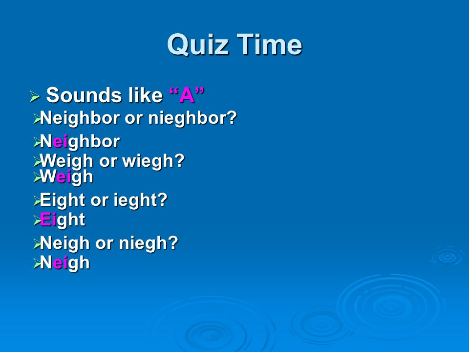 Quiz Time Sounds like A Neighbor or nieghbor Neighbor