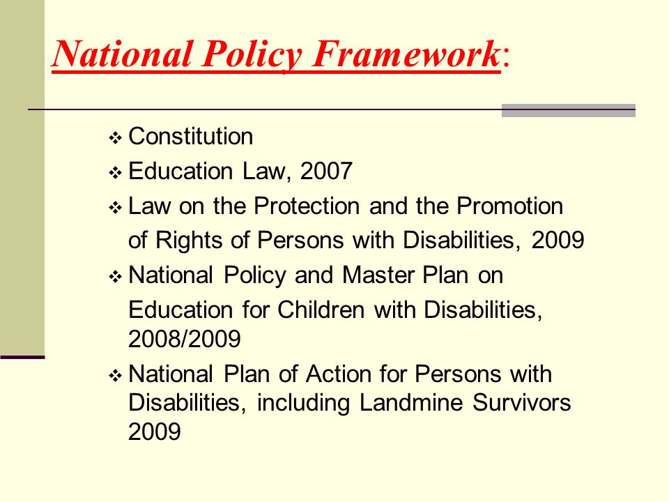 National Policy Framework: