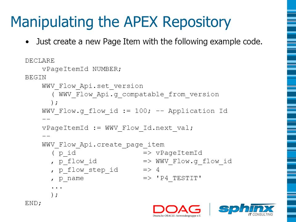 The Power of the Oracle APEX Repository Patrick Wolf, Sphinx IT