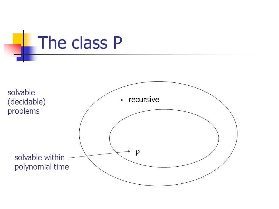 The class P solvable (decidable) recursive problems P