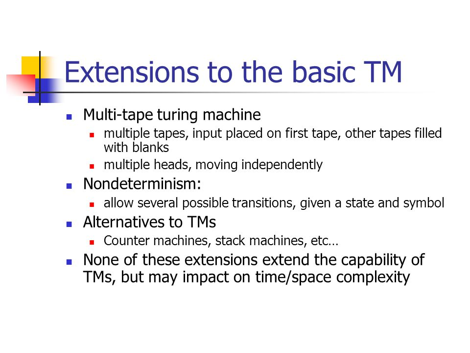 Extensions to the basic TM