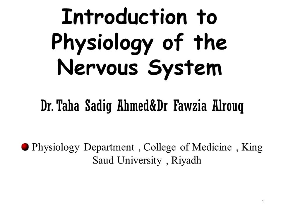 Introduction to Physiology of the Nervous System