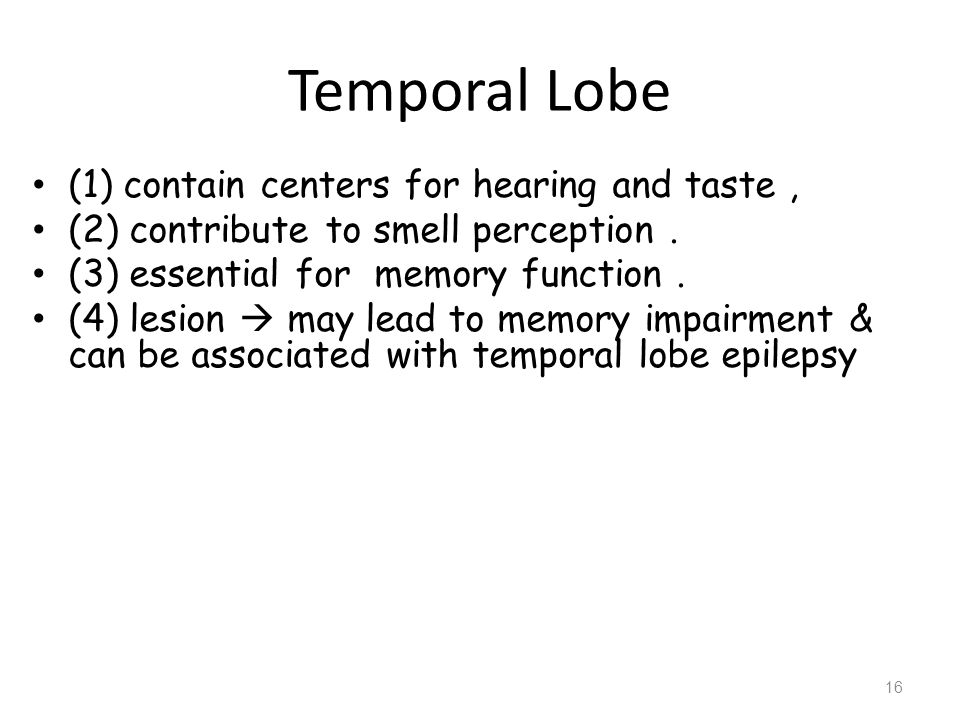 Temporal Lobe (1) contain centers for hearing and taste ,