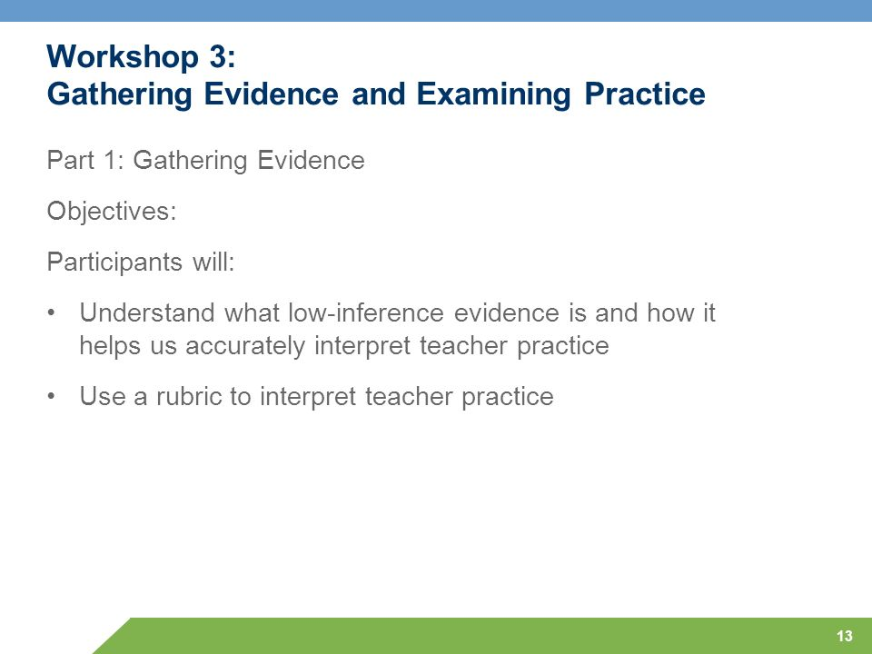 Workshop 3: Gathering Evidence and Examining Practice