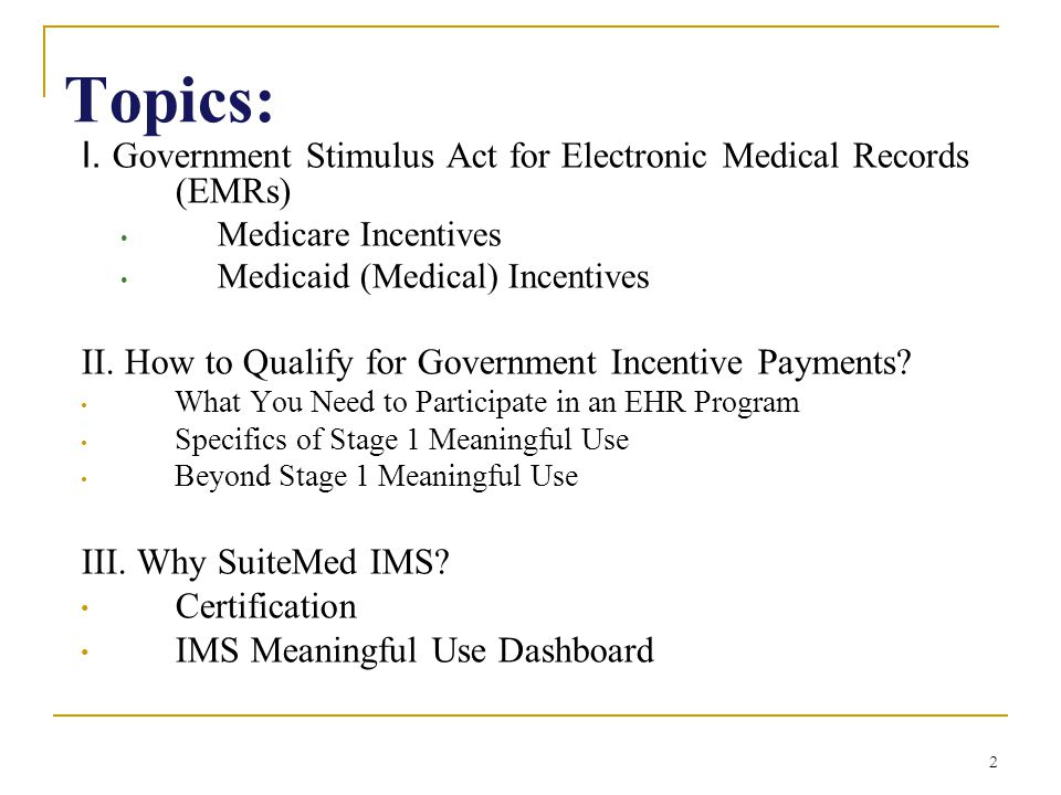 Electronic Medical Records Emrs The Stimulus Plan Ppt Download