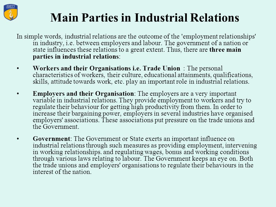Main Parties in Industrial Relations