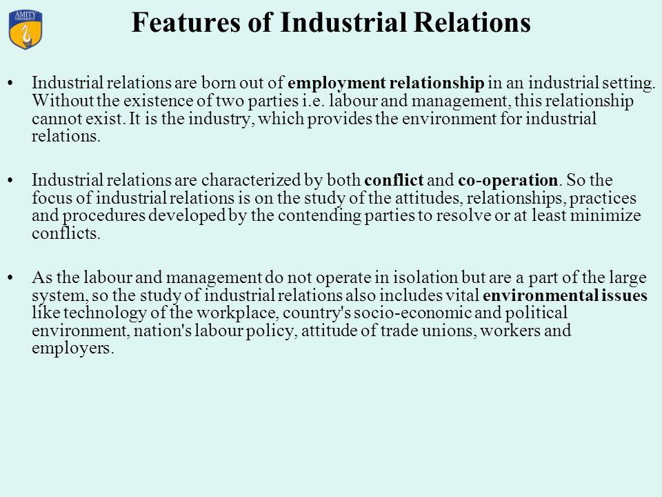 Features of Industrial Relations