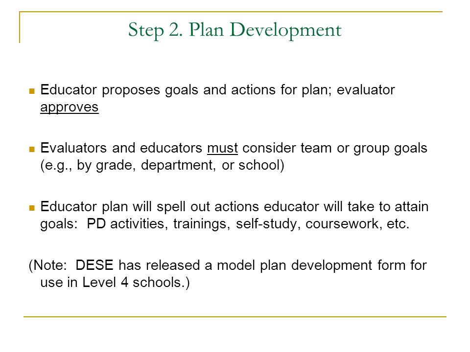 Step 2. Plan Development Educator proposes goals and actions for plan; evaluator approves.