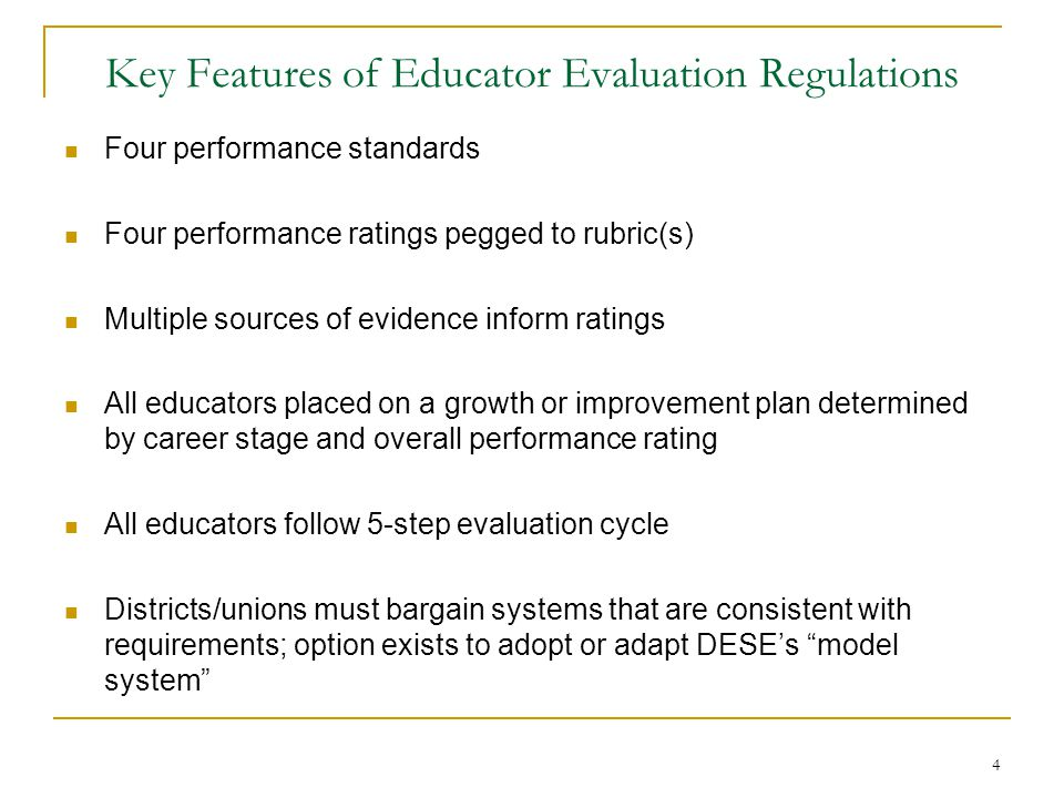 Key Features of Educator Evaluation Regulations