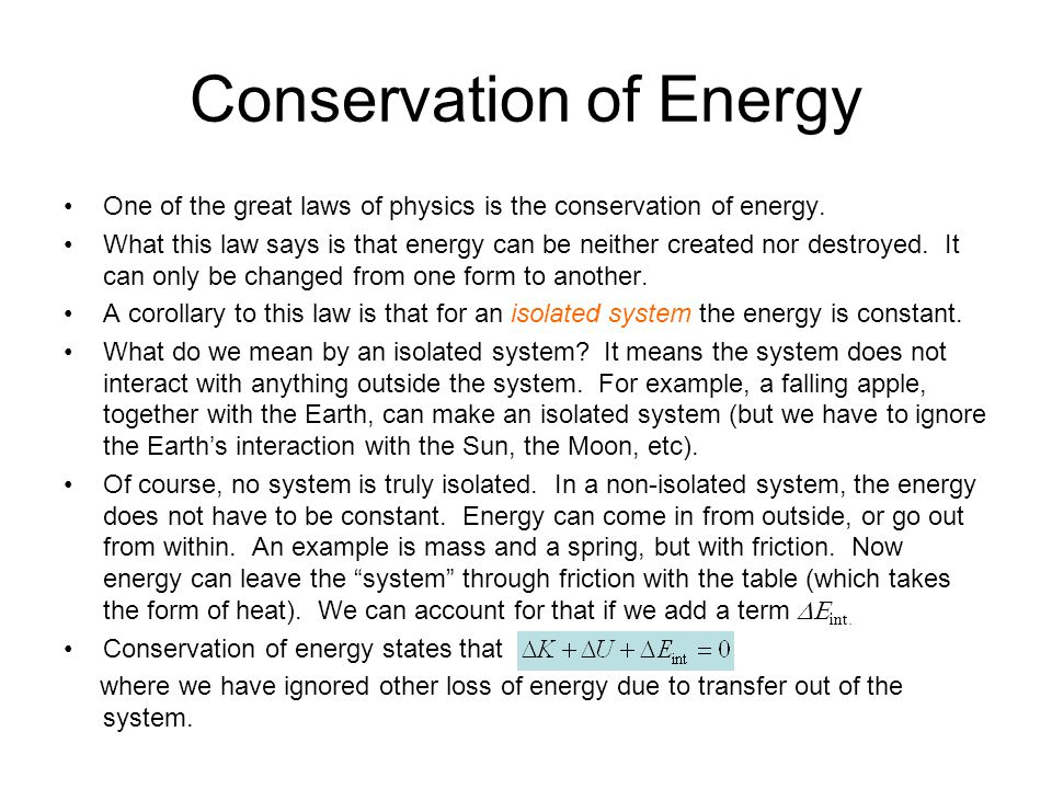 lab report the conservation of mass and energy essay Where m is the mass of the object and v is the object's speed the mechanical work applied to an object can be calculated from the scalar multiplication of the applied force (f) and the displacement of the object parallel to the force.