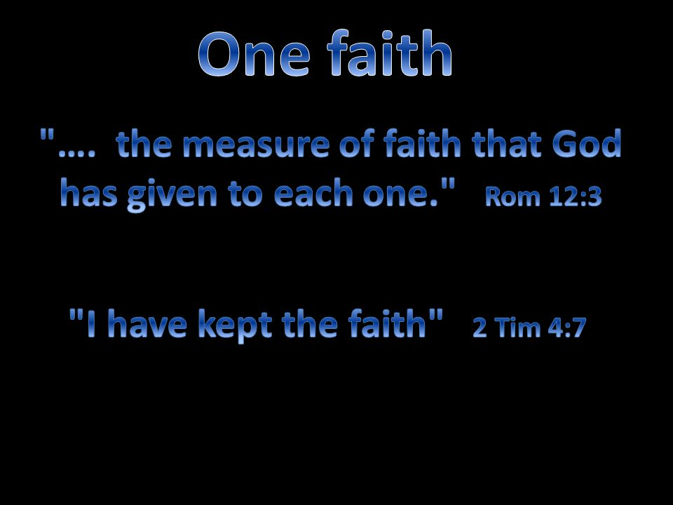…. the measure of faith that God has given to each one. Rom 12:3