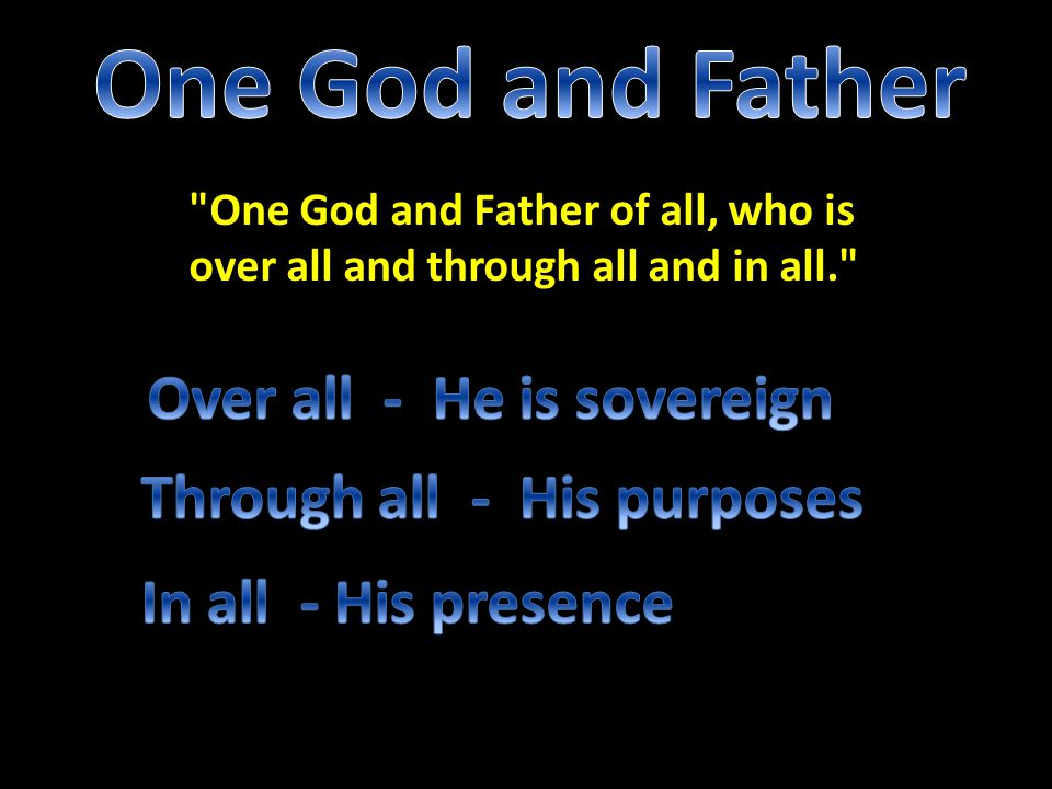 One God and Father Over all - He is sovereign