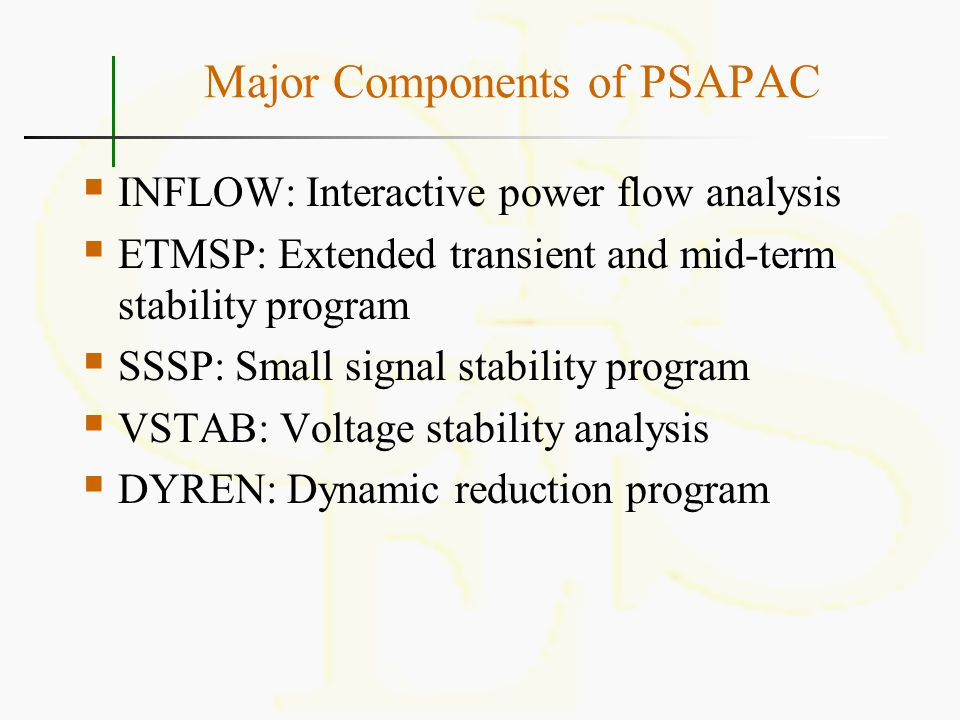 Major Components of PSAPAC