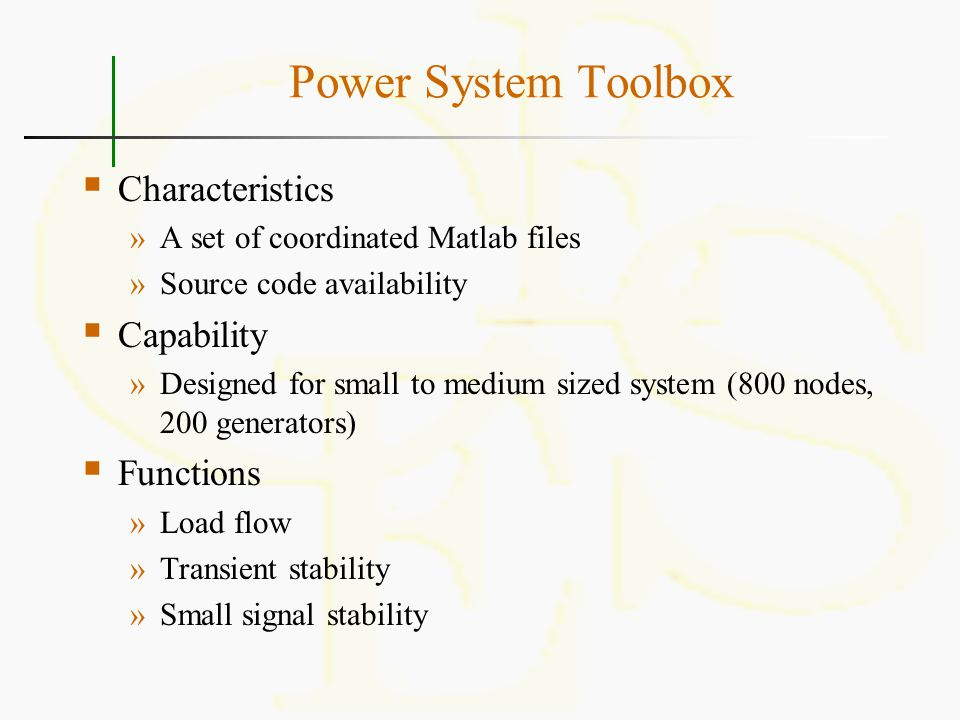 Power System Toolbox Characteristics Capability Functions