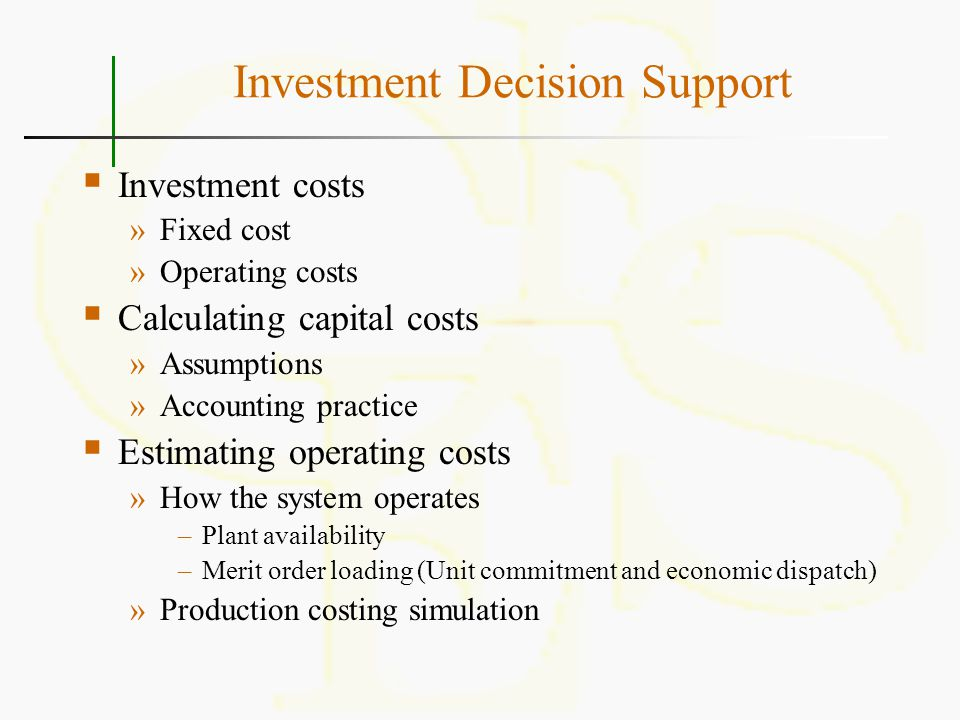Investment Decision Support