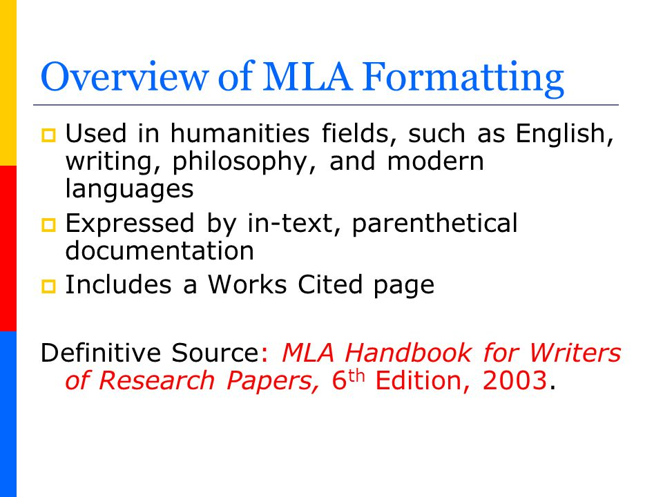 mla format for works cited page