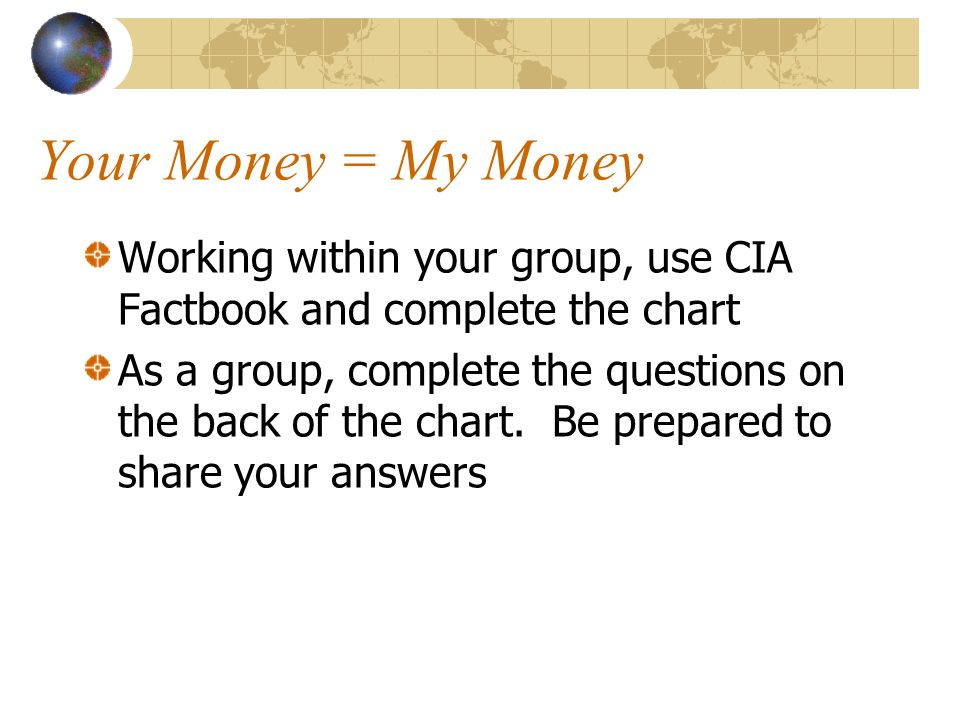 Your Money = My Money Working within your group, use CIA Factbook and complete the chart.