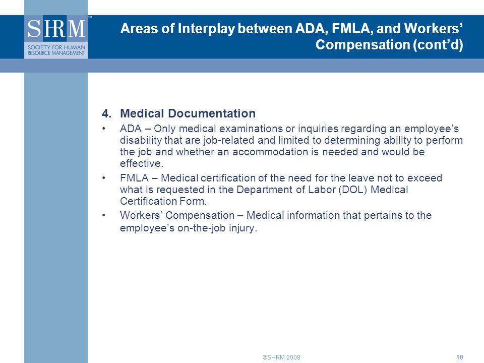 Interplay Of The Ada Fmla And Workers Compensation Training For