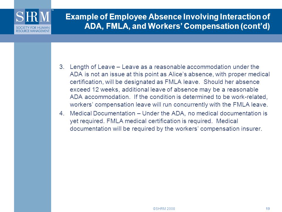 Interplay of the ADA, FMLA, and Workers\' Compensation Training for ...