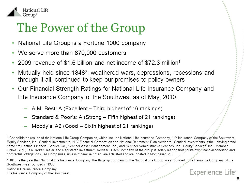 The Power of the Group National Life Group is a Fortune 1000 company